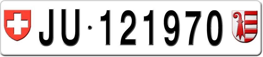 plaque immatriculation jura pour voiture ju 121970 sur. Black Bedroom Furniture Sets. Home Design Ideas